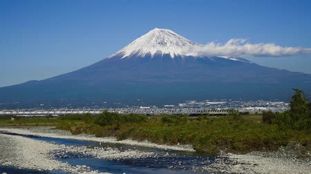 fuji : Mount Fuji with a Shinkansen bullet train