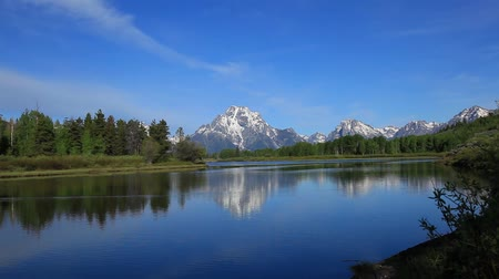 Grand Teton Mountains from Oxbow bend panorama