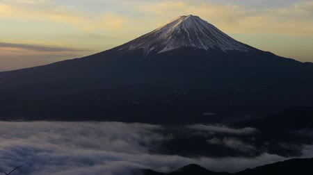 mt : Mt. Fuji and sea clouds from the Shindo-pass Stock Footage