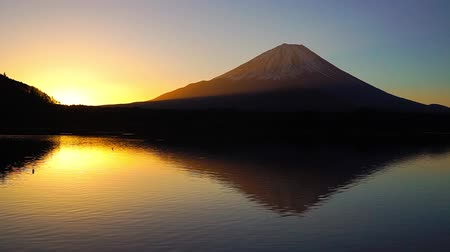 mt : Mount Fuji from Lake Shoji-Ko dawn Stock Footage