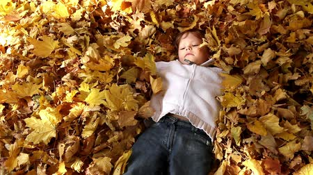 vigyorgó :  The boy abruptly buried in autumn leaves Stock mozgókép