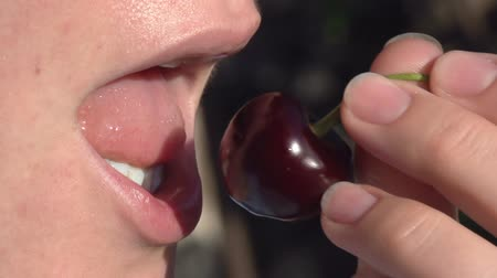 искушение : The girl bites a ripe cherry berry from the stalk. Slow Motion at a rate of 240 fps