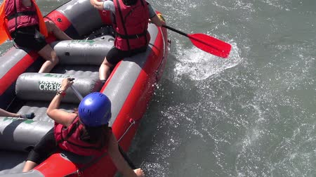 persuasion : Boat with four rowers down the mountain river. Motion at a rate of 240 fps