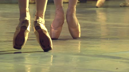 balerína : Two ballet dancers performing choreography on stage. Slow Motion at a rate of 240 fps