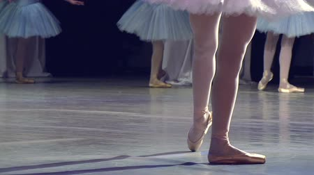 fényszóró : ballerina on stage glow of spotlights. Slow Motion at a rate of 240 fps