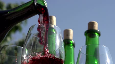 beyaz şarap : Red wine pouring down from a bottle into a glass on a background of wine bottles. Slow Motion at a rate of 240 fps