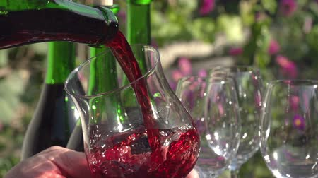 şişeler : Hand holding a glass of wine on the background of green wine bottles. In a glass pouring wine from a bottle. Slow Motion at a rate of 240 fps