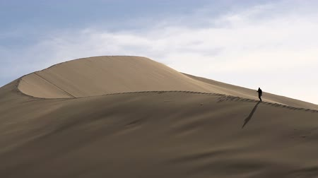 дюна : With a huge sand dune wind blows the sand. The slope of the dune moves slowly traveler