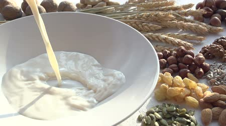 йогурт : In white plate pouring milk in a thin stream. Plate stands on the table on the background of wheat ears and small portions of a variety of nuts and dried fruits. Slow Motion