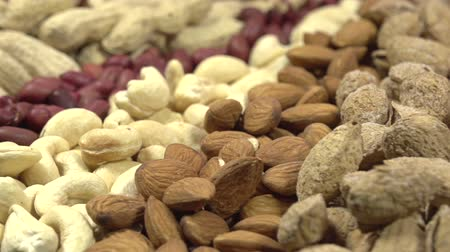 kurutulmuş : Moving past the camera portion of dried nuts - hazelnuts, peanuts, cashews, almonds, walnuts, pistachios, pecans, sunflower seeds and pumpkin Stok Video