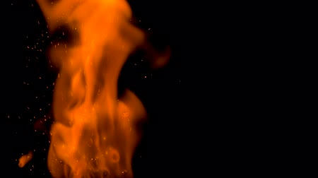 sabotage : Gunpowder path ignites and burns with a bright flame on a black background Stock Footage
