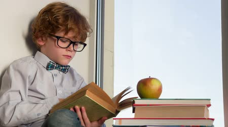 deha : Auburn curly boy with glasses sitting on a windowsill with an old book in his hands. In the pile of books lies the big apple. Boy thoughtfully thumbs through the book page Stok Video