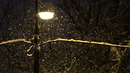 kar fırtınası : Street lamp illuminates the snow