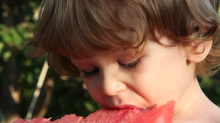dětinský : Little golden-haired boy eating a big slice of watermelon on a background of the garden