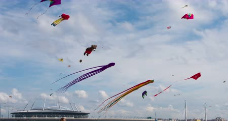 subir : A Variety of Kites in the Sky. A large number of Kites over the City Beach. Filmed at a speed of 120fps