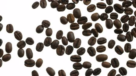 lezzet : Coffee Beans are Scattered on White. On the white luminous screen appears coffee beans. Filmed at a speed of 240fps