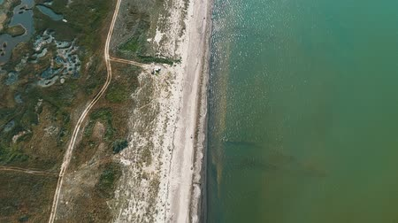 namibya : 4K aerial drone view of Azov sea coastline Stok Video