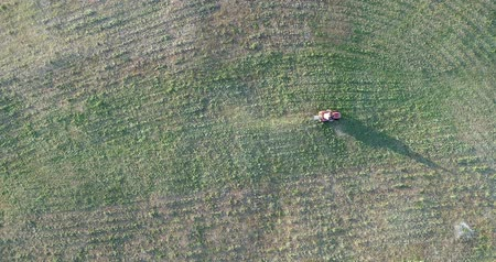mow : An aerial view of a man cutting his lawn with a riding mower.