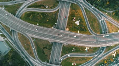 aerial view of a complicated road junction with many road markings Stock Footage
