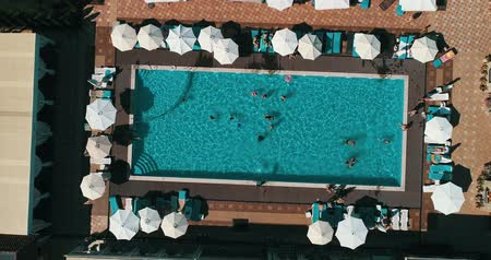 gonflable : Aerial top view of family in swimming pool from above, happy mother and kids swim on inflatable ring donuts and have fun in water on family vacation. Vidéos Libres De Droits