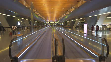 gangway : Airport terminal - October 2017: Doha, Hamad International airport, Qatar Stock Footage