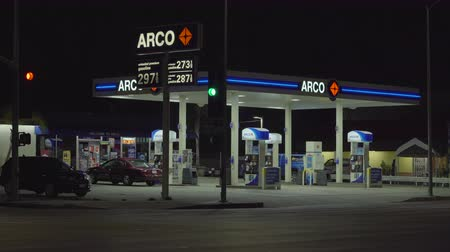 arco : Arco, American gas station at night - August 2017: Los Angeles California, US
