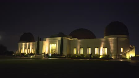 observatory : Griffith Observatory building at night - August 2017: Los Angeles California, US Stock Footage
