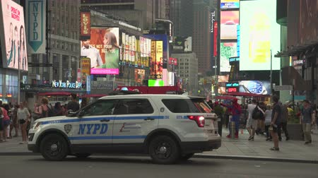 counterterrorism : Flashing police car in the Time Square - August 2017: Manhattan, New York City, NY, US
