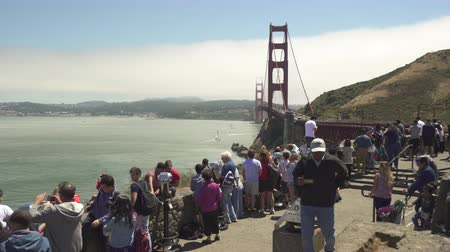 lookout point : Vista overlook with tourists in the Golden Gate bridge - August 2017: San Francisco, California, US
