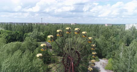 atom : Aerial view of Pripyat ferris wheel. Nuclear accident 30km Chernobyl exclusion zone, Ukraine