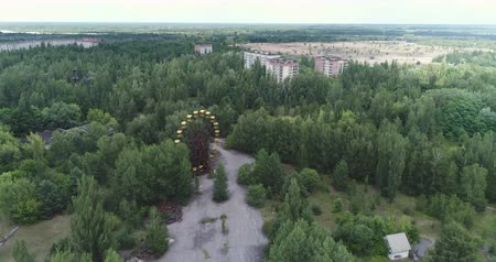 pripyat : Aerial view of Pripyat ghost town. Nuclear accident - Juni 2017: 30km Chernobyl exclusion zone, Ukraine