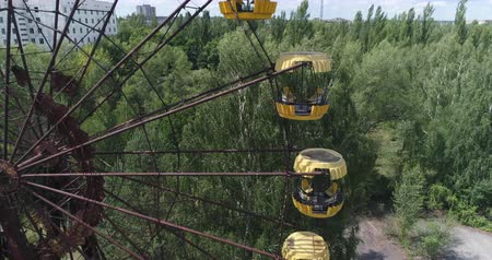 pripyat : Aerial view of Pripyat ferris wheel. Nuclear accident 30km Chernobyl exclusion zone, Ukraine