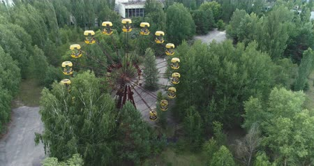 pripyat : Aerial view of Pripyat amusement park. Nuclear accident - Juni 2017: 30km Chernobyl exclusion zone, Ukraine