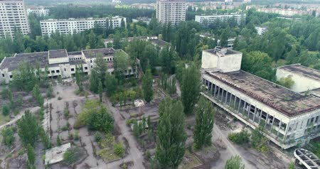 pripyat : Flight over of Pripyat ghost town. Nuclear accident - Juni 2017: 30km Chernobyl exclusion zone, Ukraine