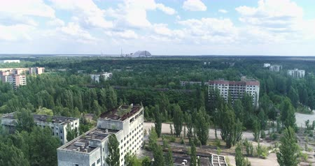 reactor : Flight over of Pripyat ghost town. Nuclear accident - Juni 2017: 30km Chernobyl exclusion zone, Ukraine