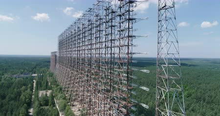 cold war : Aerial shot of Duga horizon radar system - 30km Chernobyl exclusion zone, Ukraine