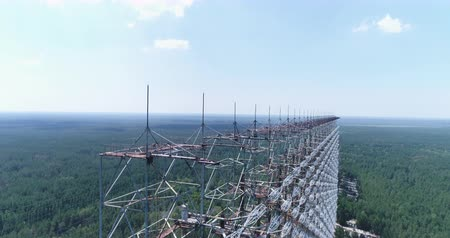 cold war : Aerial shot of Duga horizon radar system -30km Chernobyl exclusion zone, Ukraine