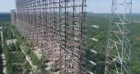 cold war : Aerial shot of Duga horizon radar system Chernobyl exclusion zone, Ukraine