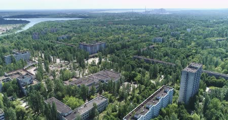 nuclear power : Flight over of Pripyat ghost town. Nuclear accident  - Juni 2017: 30km Chernobyl exclusion zone, Ukraine
