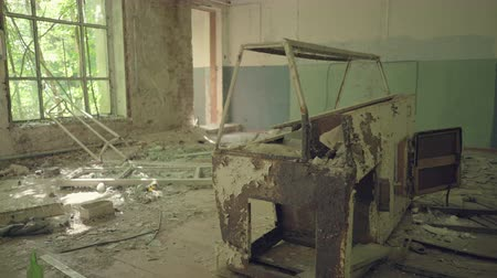 evacuation : Abandoned store in a village. Chernobyl nuclear disaster, catastrophe. Slider shot 30km Chernobyl, exclusion zone Stock Footage