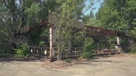 nuclear power : Abandoned amusement park, bumper cars in Pripyat. Chernobyl nuclear disaster - Juni 2017: 30km Chernobyl, exclusion zone