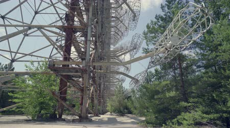 cold war : Horizon radar system in Duga. Chernobyl nuclear disaster, catastrophe 30km Chernobyl, exclusion zone