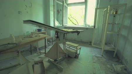 obstetrics : Abandoned hospital, gynecology in Pripyat. Chernobyl nuclear disaster. Slider shot 30km Chernobyl, exclusion zone