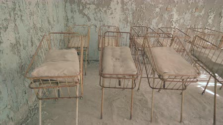 evacuation : Neonatal ward in abandoned hospital of Pripyat. Chernobyl nuclear disaster. Slider shot - Juni 2017: 30km Chernobyl, exclusion zone