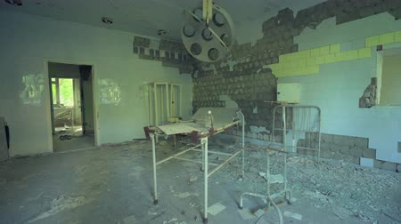 obstetrics : Abandoned hospital, surgery room in Pripyat. Chernobyl nuclear disaster. Slider shot - Juni 2017: 30km Chernobyl, exclusion zone