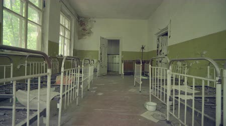 tracking : Abandoned kindergarten near Pripyat. Chernobyl nuclear disaster. Slider shot 30km Chernobyl, exclusion zone