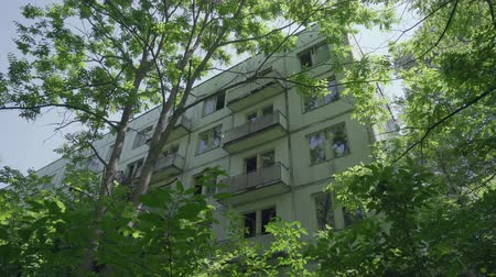 pripyat : Abandoned houses, residential in Pripyat ghost town. Chernobyl nuclear disaster. Slider shot 30km Chernobyl, exclusion zone Stock Footage