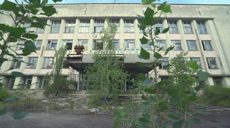 reactor : Abandoned building in Pripyat downtown. Chernobyl nuclear disaster. Slider shot - Juni 2017: 30km Chernobyl, exclusion zone