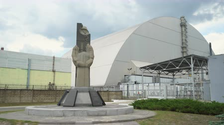 reactor : New Chernobyl sarcophagus, dome. Chernobyl nuclear power plant. Slider shot - Juni 2017: 30km Chernobyl, exclusion zone