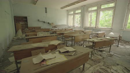 slider shot : Classroom in an abandoned school in Pripyat. Chernobyl nuclear disaster. Slider shot - Juni 2017: 30km Chernobyl, exclusion zone